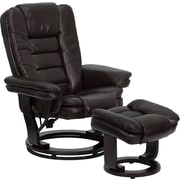 Flash Furniture Contemporary Leather Recliner and Ottoman with Swiveling Mahogany Wood Base, Brown