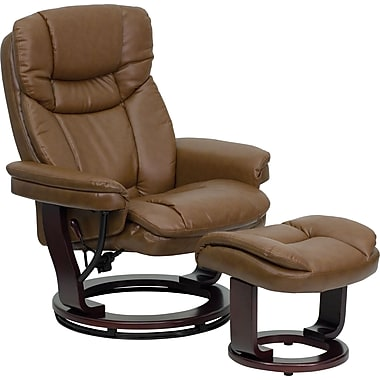 Flash Furniture BT-7821-PALIMINO-GG Lthr/Wood Recliner/Ottoman, Mahogany