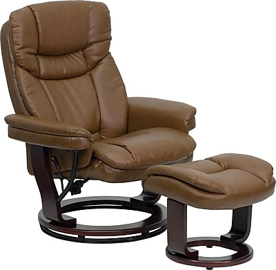 Flash Furniture BT-7821-PALIMINO-GG Leather/Wood Recliner/Ottoman, Mahogany
