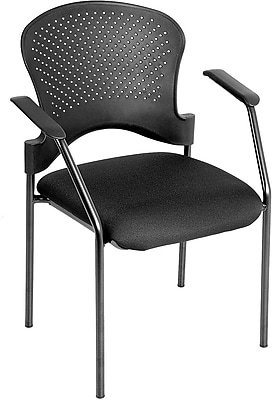 Raynor Eurotech Fabric Seat Breeze 4 Leg Side Chair, Black Frame, Black