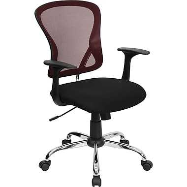 Flash Furniture Mid-Back Office Chair, Fixed Arm, Burgundy and