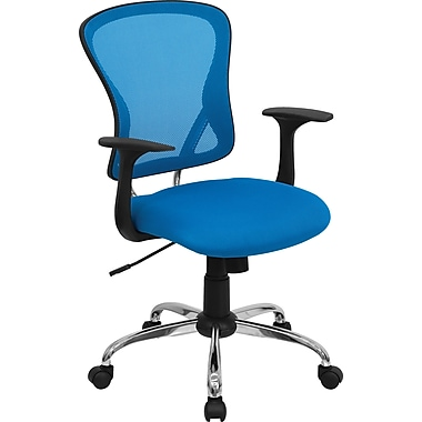 Flash Furniture – Fauteuil de direction H-8369F-BL-GG à dossier mi-dos en mailles, accoudoirs fixes, bleu