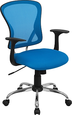 Flash Furniture Furniture Mesh Executive Office Chair, Blue, Fixed Arm (H8369FBL)