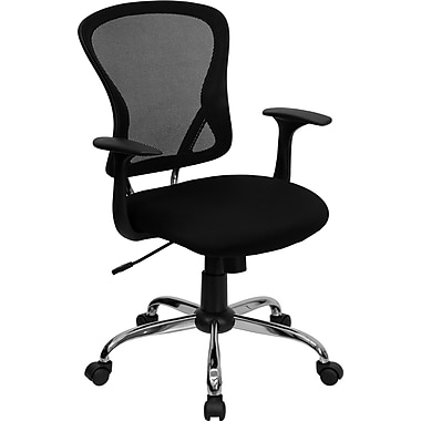 Flash Furniture H-8369F-BLK-GG Mesh Mid-Back Exec Chair with Fixed Arms, Black