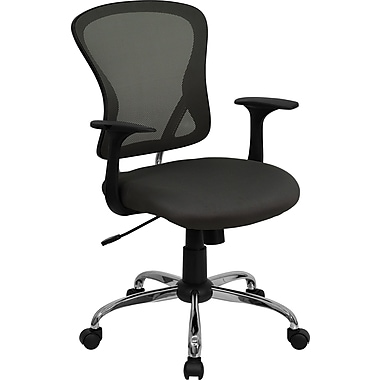 Flash Furniture H-8369F-DK-GY-GG Mesh Mid-Back Exec Chair with Fixed Arms, Dark Gray
