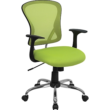 Flash Furniture Green Mid-Back Mesh Exec Chair, Fixed Arms