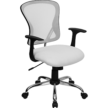 Flash Furniture Mid-Back Mesh Exec Chair, Fixed Arm, White
