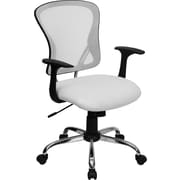 Flash Furniture Furniture Mesh Executive Office Chair, White, Fixed Arm (H8369FWHT)