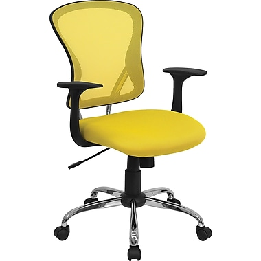Flash Furniture H-8369F-YEL-GG Mesh Mid-Back Exec Chair with Fixed Arms, Yellow