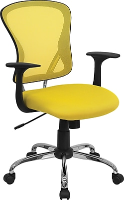 Flash Furniture Furniture Mesh Executive Office Chair, Yellow, Fixed Arm (H8369FYEL)