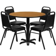 Flash Furniture 36'' Round Natural Laminate Table Set with X-Base and 4 Black Trapezoidal Back Banquet Chairs
