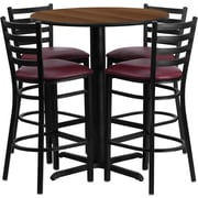 Flash Furniture 30'' Round Walnut Laminate Table Set with X-Base and 4 Ladder Back Metal Bar Stools, Burgundy Vinyl Seat