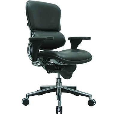 Eurotech Seating LE10ERGLO(N) Ergohuman Leather Mid-Back Executive Chair with Adjustable Arms, Black