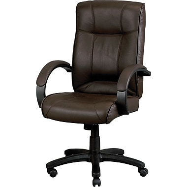 Eurotech Odyssey Leather Executive Office Chair, Fixed Arms, Brown (LE9406-19BRNL)
