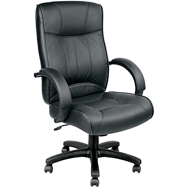 Eurotech Seating LE9406-BLKL Odyssey Leather Executive Chair with Fixed Arms, Black
