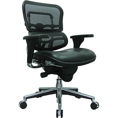 Eurotech Seating LEM6ERGLO-BLK(N) Ergohuman Leather Mid-Back Executive Chair with Adjustable Arms, Black