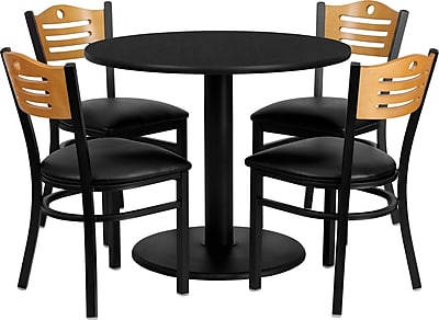 Flash Furniture 36'' Round Black Laminate Table Set with Round Base and 4 Wood Slat Back Metal Chairs, Black Vinyl Seat 130056