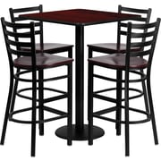 Flash Furniture Square Laminate Table Set with 4 Ladder Back Metal Bar Stool, 30'' x 30'', Mahogany Wood Seat (MD0014)