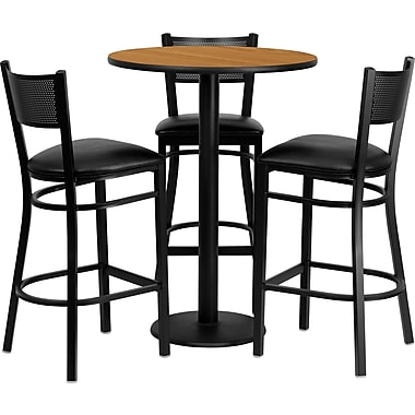 Flash Furniture – Table ronde 30 po en strat. naturel, base ronde et 3 tab. en métal à dossier à grille, sièges en vinyle noir