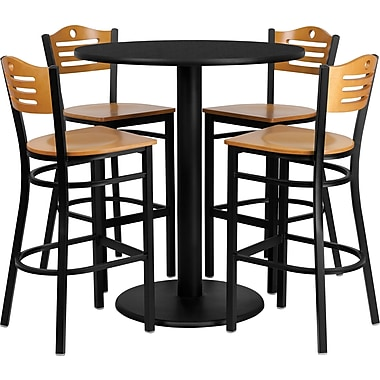 Flash Furniture 36'' Round Black Laminate Table Set with Round Base and 4 Wood Slat Back Metal Bar Stools, Natural Wood Seat