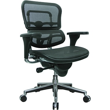 Raynor ME8ERGLO(N) Ergo human Mesh Mid-Back Executive Chair with Adjustable Arms, Black
