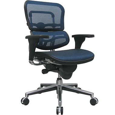Raynor ME8ERGLO-BLUE(N) Ergo human Mesh Mid-Back Executive Chair with Adjustable Arms, Blue