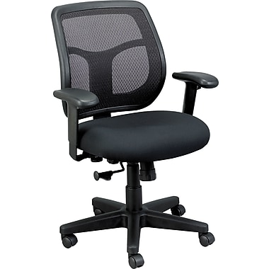 Eurotech Seating MT9400-BK Apollo Fabric Mid-Back Task Chair with Adjustable Arms, Black