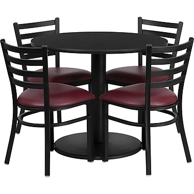 Flash Furniture 36u0027u0027 Round Black Laminate Table Set With Round Base And 4  Ladder