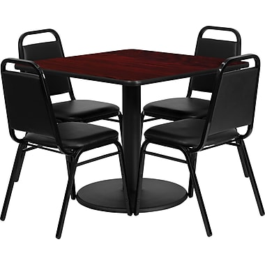 Flash Furniture 36'' Square Mahogany Laminate Table Set with Round Base and 4 Black Trapezoidal Back Banquet Chairs