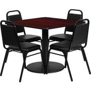 Flash Furniture – Ensemble de table carrée 36 po en acajou stratifié avec base ronde, 4 chaises de banquet trapézoïdales noires