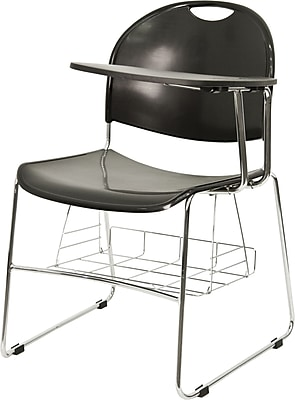 Flash Furniture High Density Plastic Chair with Book Basket and Chrome Frame, Left Handed Flip-Up Tablet Arm, Black