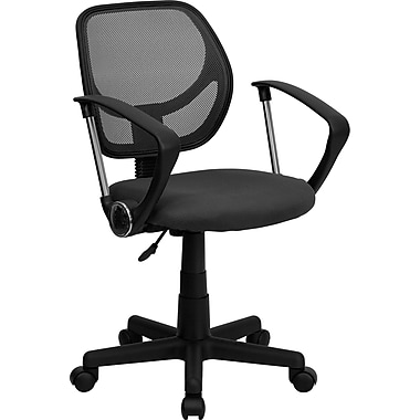 Flash Furniture WA-3074-GY-A-GG Mesh Mid-Back Task Chair with Fixed Arms, Gray