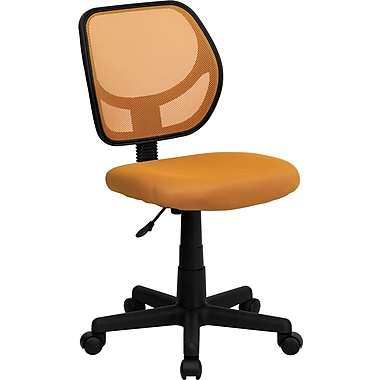 Flash Furniture WA-3074-OR-GG Mesh Mid-Back Armless Task Chair, Orange