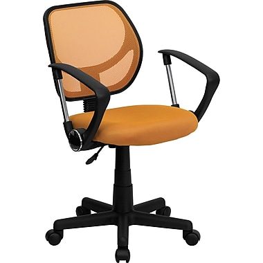 Flash Furniture WA-3074-OR-A-GG Mesh Mid-Back Task Chair with Fixed Arms, Orange