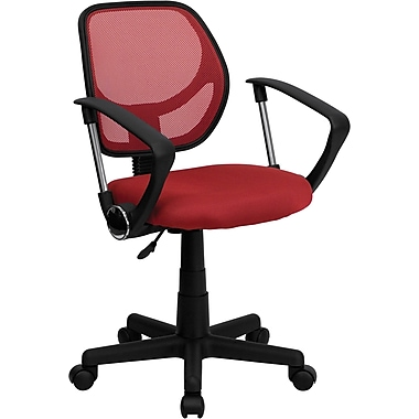 Flash Furniture WA-3074-RD-A-GG Mesh Mid-Back Task Chair with Fixed Arms, Red