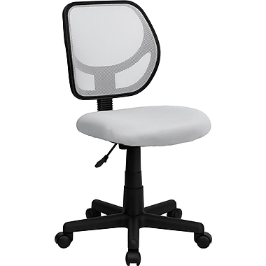 Flash Furniture WA-3074-WHT-GG Mesh Mid-Back Armless Task Chair, White