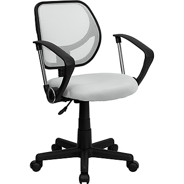 Flash Furniture WA-3074-WHT-A-GG Mesh Mid-Back Task Chair with Fixed Arms, White