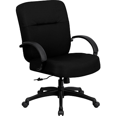 Flash Furniture HERCULES Series 400 lb. Capacity Big and Tall Fabric Office Chair with Arms and 21''W Seat, Black