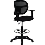Flash Furniture Ergonomic Mesh Drafting Stool, Adjustable Arm, Black