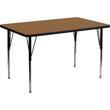Flash Furniture – Table d'activités rectangulaire, surface stratifiée de 24 x 48 (po) et pattes standards réglables, chêne