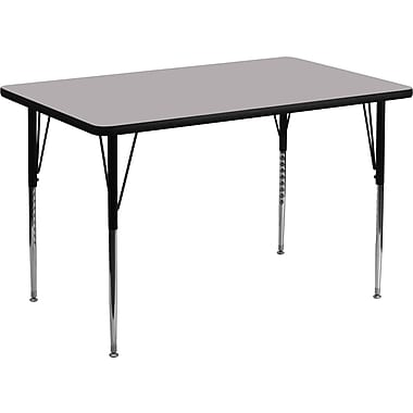Flash Furniture – Table d'activités rectangulaire, surface stratifiée de 30 x 48 (po) et pattes standards ajustables, gris