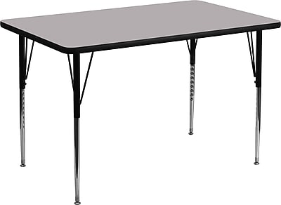 Flash Furniture 30''W x 48''L Rectangle Activity Table with Thermal Fused Laminate Top and Standard Height Adjustable Legs, Grey