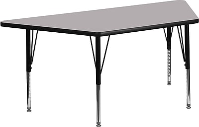 Flash Furniture 30''W x 60''L Trapezoid Activity Table with Thermal Fused Top and Height Adjustable Pre-School Legs, Grey