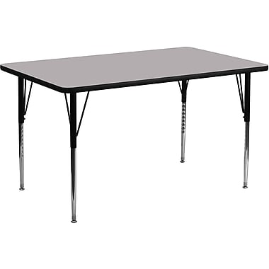 Flash Furniture – Table d'activités rectangulaire, surface stratifiée de 30 x 72 (po) et pattes standards ajustables, gris