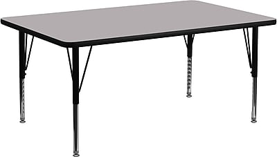 Flash Furniture 30''W x 72''L Rectangle Activity Table with Thermal Fused Top and Height Adjustable Pre-School Legs, Grey