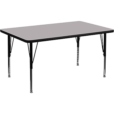 Flash Furniture 36''W x 72''L Rectangle Activity Table with Thermal Fused Top and Height Adjustable Pre-School Legs, Grey