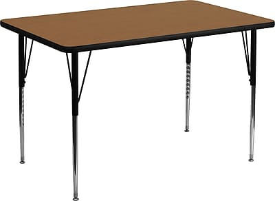 Flash Furniture 36''W x 72''L Rectangle Activity Table with Thermal Fused Laminate Top and Standard Height Adjustable Legs, Oak