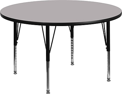 Flash Furniture 42'' Round Activity Table with Thermal Fused Laminate Top and Height Adjustable Pre-School Legs, Grey