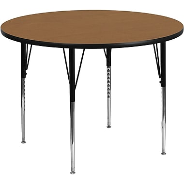 Flash Furniture 42'' Round Activity Table with Thermal Fused Laminate Top and Standard Height Adjustable Legs, Oak