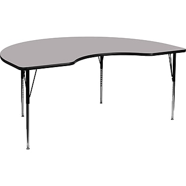 Flash Furniture – Table d'activités haricot, surface thermofusionnée 48x72 po, pattes standards, haut ajustable, gris